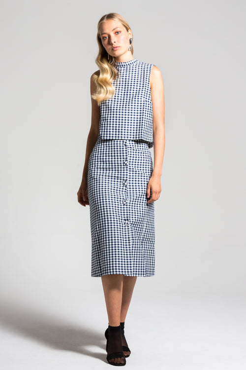 Navy Gingham Charlie Top