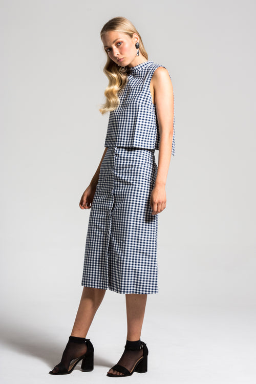 Navy Gingham Charlie Skirt & Top Set