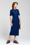 Dorsu | Navy Ribbed Midi Dress | Ethical & Sustainable Fashion | ECO.MONO