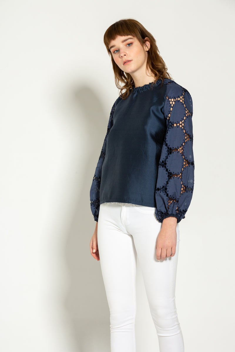 Navy Silk Mock Neck Blouse