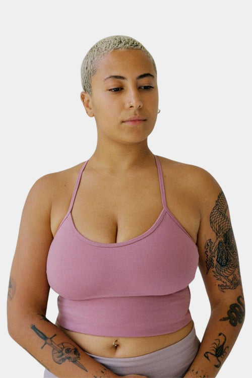 Organic Cotton Activewear Benny Crop Top - Dusty Pink Front | Eco Friendly Activewear Australia