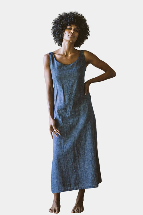 Organic Cotton Hemp Dahlia Dress Indigo Stripe | Eco Friendly Dresses