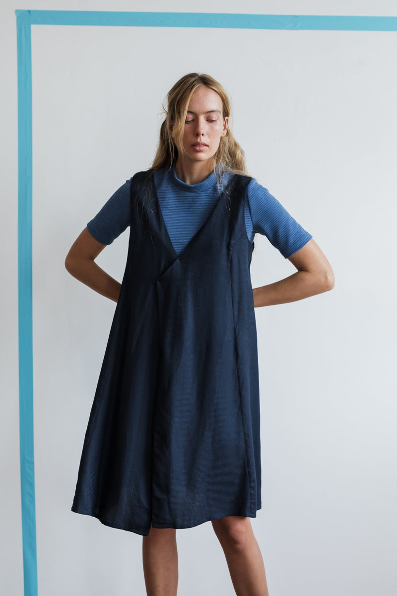 Argyle Pinafore Dress Navy | Ricepaper The Label | Made in Melbourne
