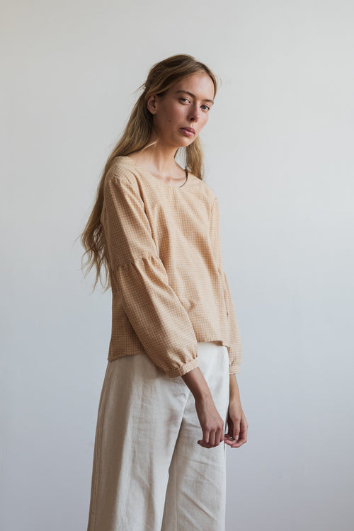 Si Ying Shirt Yellow Check | Ricepaper The Label | Made in Melbourne
