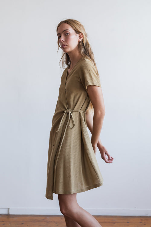 Apliu Wrap Dress Taupe | Ricepaper The Label | Made in Melbourne
