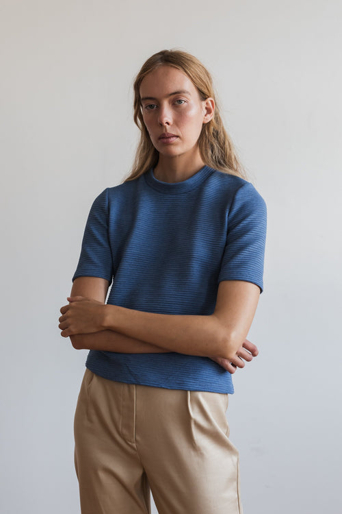 Kwan Short Sleeve Knit Sea Blue | Ricepaper The Label | Made in Melbourne