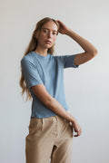Kwan Short Sleeve Knit Dove Blue | Ricepaper The Label | Made in Melbourne