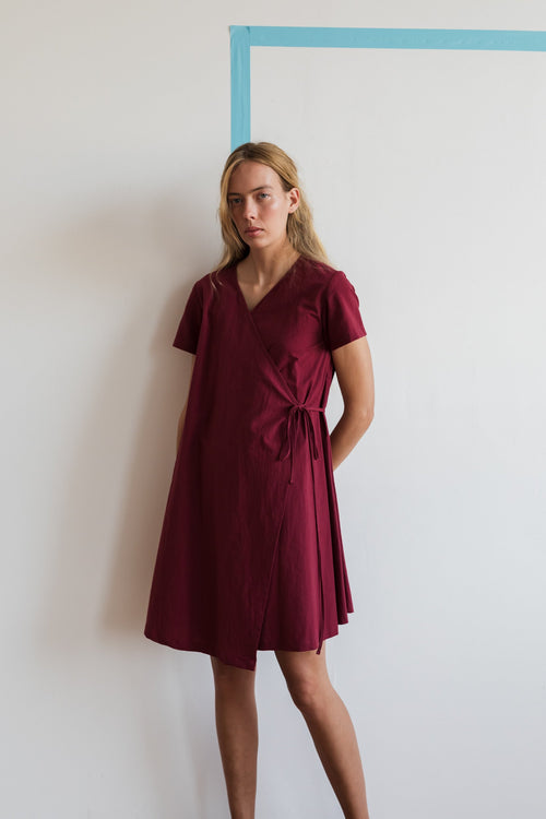 Apliu Wrap Dress Burgundy | Ricepaper The Label | Made in Melbourne