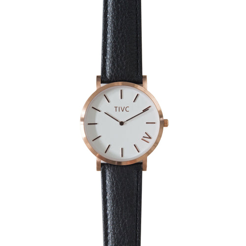 Rose Gold | Black Stitched Band  | Vegan Watches Australia| ECO.MONO
