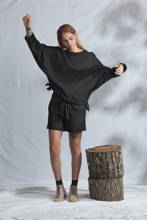 Tether Crew Jumper Black | Ethical & Sustainable Fashion Australia | ECO.MONO | Melbourne | Organic Cotton
