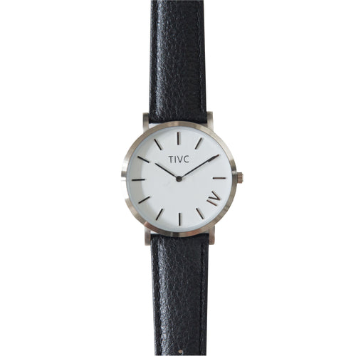 Silver | Black Stitched Band | Vegan Watches & Accessories | ECOMONO