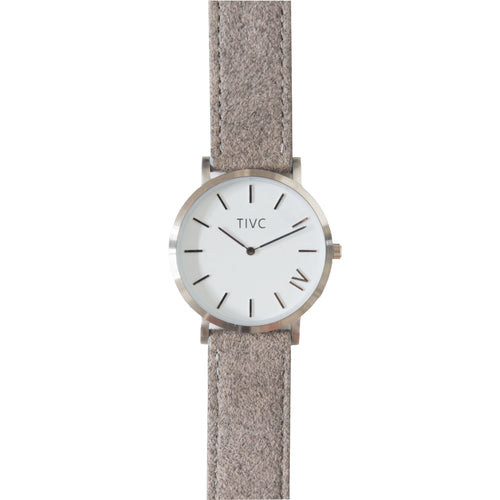 Silver | Grey Suede Stitched Band | Vegan Watches & Accessories | ECOMONO
