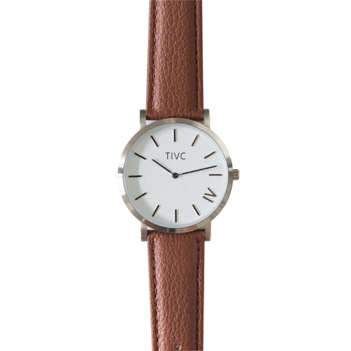 Silver | Tan Stitched Band | Vegan Watches & Accessories | ECO.MONO