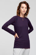 Theo The Label | Stripe Raglan T-shirt - Navy/Burgundy | Ethical & Sustainable Fashion