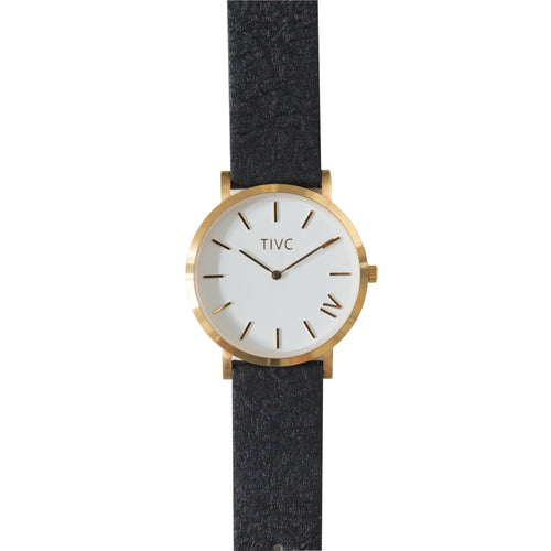 Gold | Pinatex Band (Black) | Vegan Watches & Accessories | ECOMONO