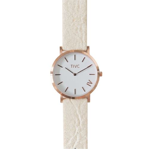 36mm Rose Gold | Pinatex Band (Natural) | Vegan Watches | ECO.MONO