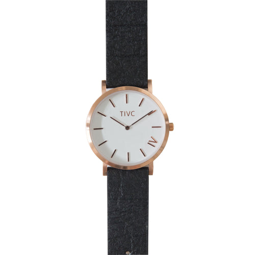 Rose Gold | Pinatex Band (Black) | Vegan Watches Australia| ECO.MONO