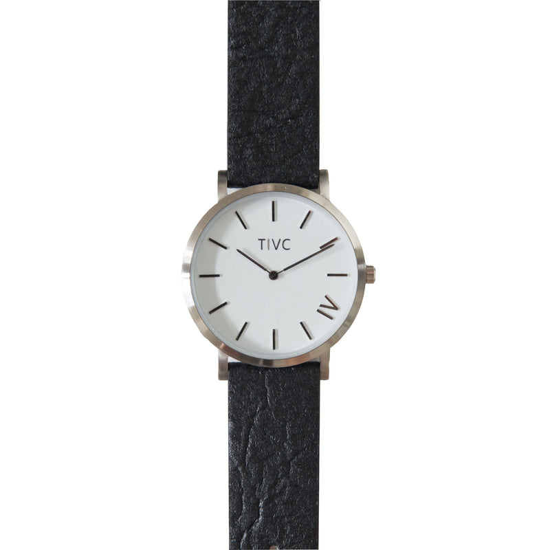 Silver | Pinatex Band (Black) | Vegan Watches & Accessories | ECOMONO