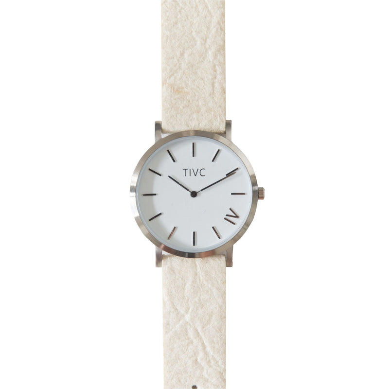 Silver | Pinatex Band (Natural) | Vegan Watches & Accessories | ECOMONO