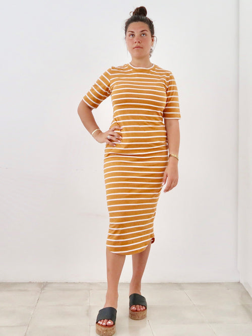 PRE-ORDER Women's T-shirt Dress (Mustard White Stripe)