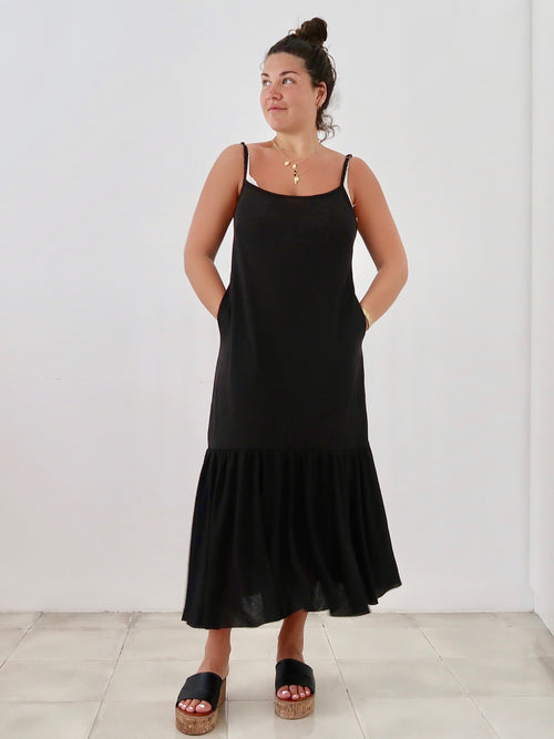 PRE-ORDER Women's Linen Midi Dress (Black)