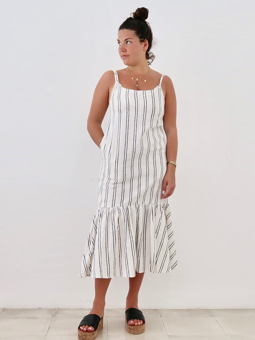 Linen Midi Dress Stripe | Theo The Label | Ethical Clothing Australia