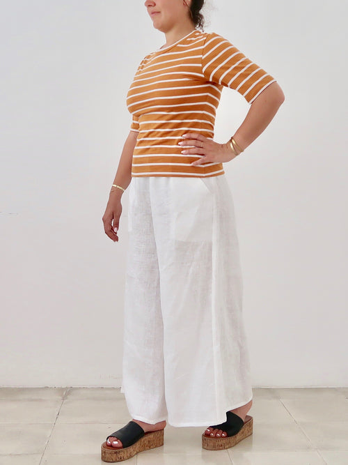 PRE-ORDER Women's Slim T-shirt (Mustard White Stripe)