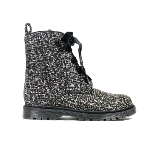 Billie Silver/Black Textile Vegan Combat Boots | Ethical Shoes Australia | Vegan Shoes | ECO.MONO