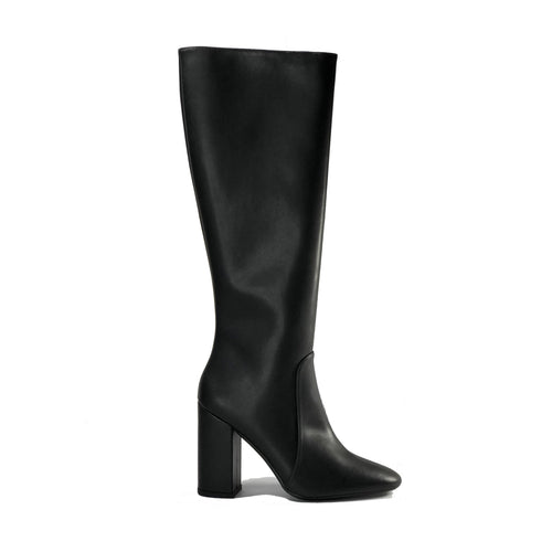 Claudia Knee-High Vegan Leather Boots - Black | Vegan Shoes Australia