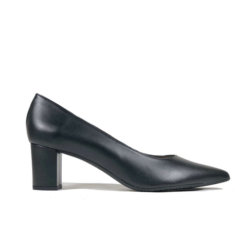 'Joy' vegan leather mid heel - black
