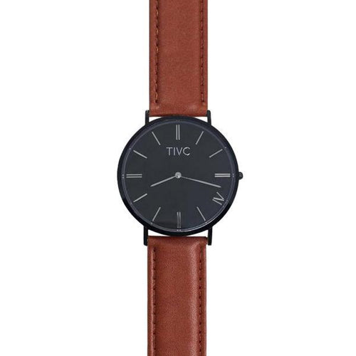 Black | Tan Stitched Band | Vegan Watches & Accessories | ECO.MONO