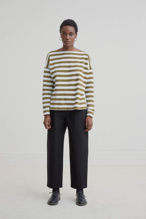 Kowtow Breton Sweater Khaki White Stripe | Organic Cotton | Winter Jumper