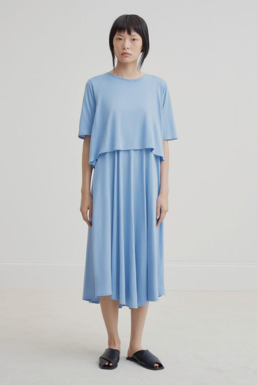 Kowtow Double Layer Dress Blue | Ethically Made Dress | Organic Cotton