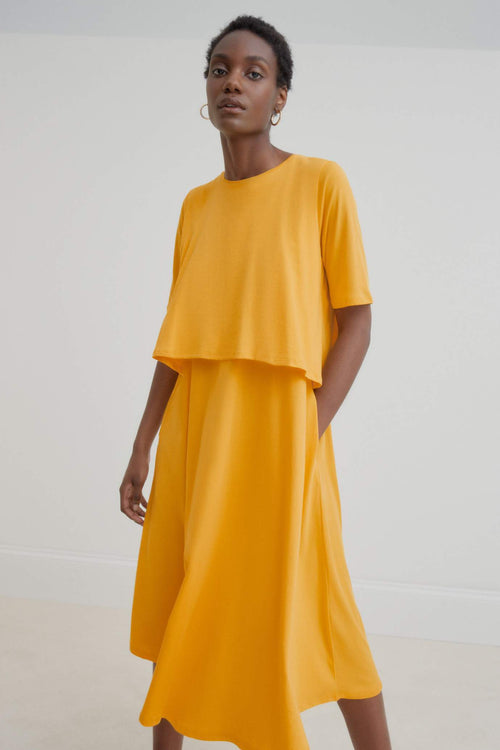 Kowtow Double Layer Dress Yellow | Ethical Dress | Organic Cotton