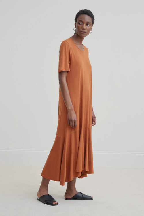 Kowtow Flare Hem Dress Copper | Organic Cotton | Ethically Made Dress