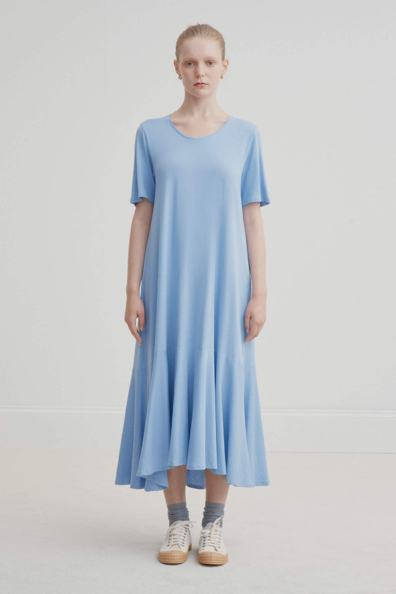 Kowtow Flare Hem Dress - Dusk Blue | Ethically Made Dress | Organic Cotton