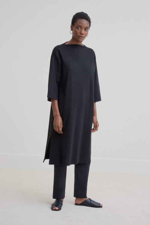 Kowtow Funnel Neck Dress - Black | Ethically Made Dress | Organic Cotton