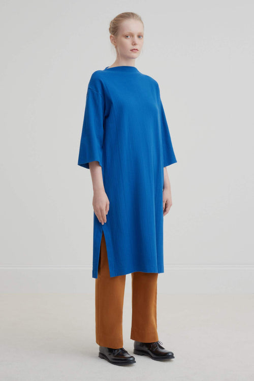 Kowtow Funnel Neck Dress - Electric Blue | Ethical | Organic Cotton