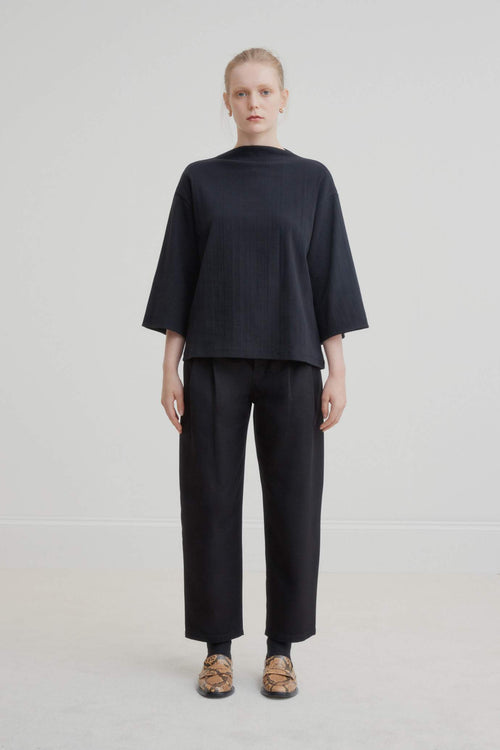 Kowtow Funnel Neck Top - Black | Organic Cotton | Ethically Made Tops