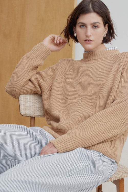 Kowtow Henri Crew Camel | Winter Jumper | Eco Friendly