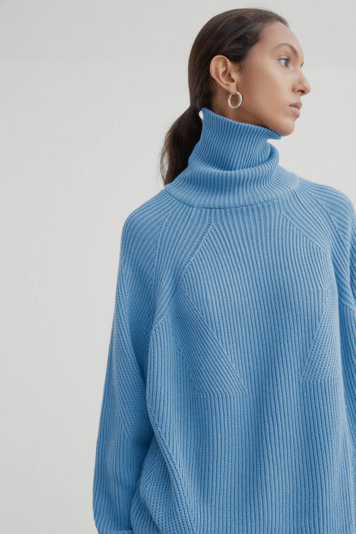 Kowtow Henri Roll Neck Jumper Sky Blue | Winter Jumper | Organic Cotton
