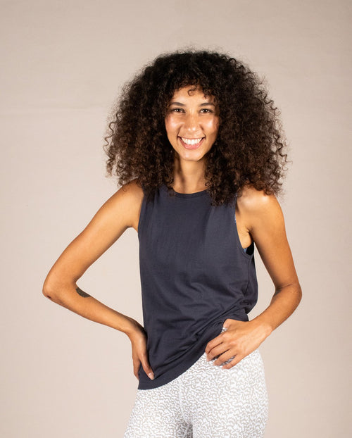 Organic Tank - Midnight | Team Timbuktu | Ethical Activewear Australia