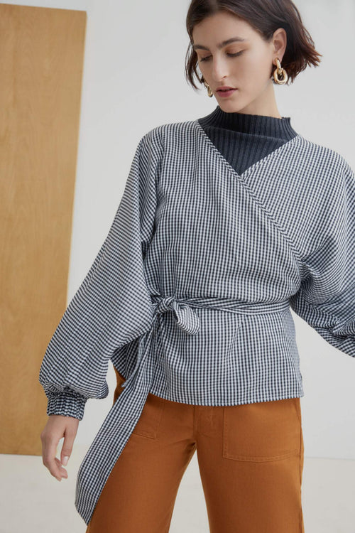Kowtow Moma Wrap Top Gingham | Winter Wrap Tops | Ethically Made