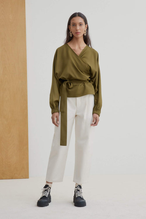 Kowtow Moma Wrap Top Khaki | Winter Wrap Tops | Ethically Made