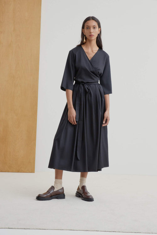 Kowtow Nico Wrap Dress Black | Ethically Made Dress Australia