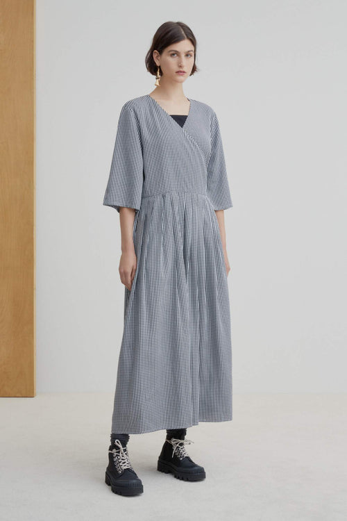 Kowtow Nico Wrap Dress Gingham | Ethically Made Dress Australia