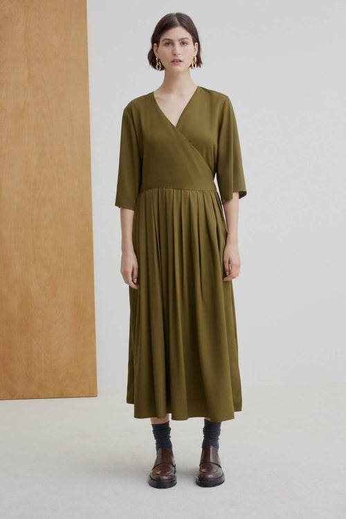 Kowtow Nico Wrap Dress Khaki | Ethically Made Dress Australia
