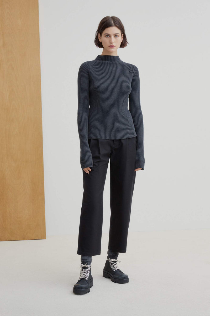 Kowtow Row Top - Charcoal Marle | Ethical Winter Tops Australia | Organic