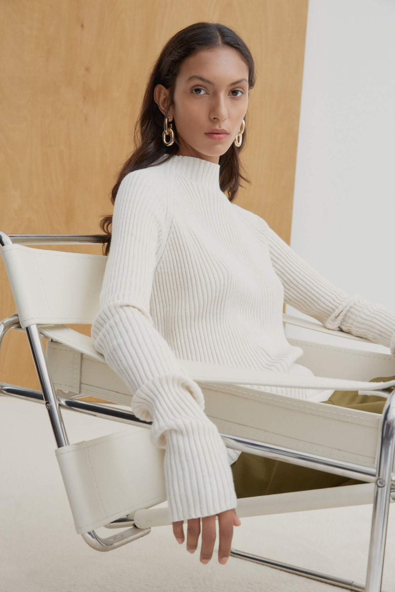 Kowtow Row Top - Sand Marle | Ethical Winter Tops Australia | Organic