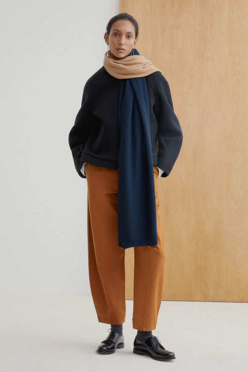 Kowtow Scenery Scarf Camel & Navy | Winter Scarf | Winter Accessories